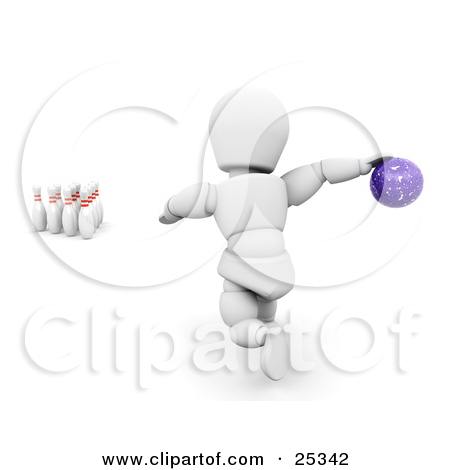 Clipart Illustration of a Bowling White Character About To Release.