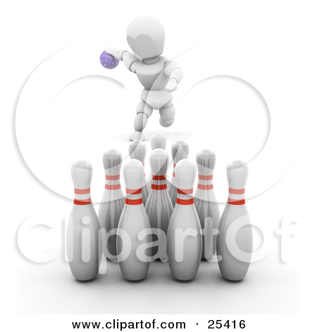 Clipart Illustration of a Bowling White Character Leaning Down To.