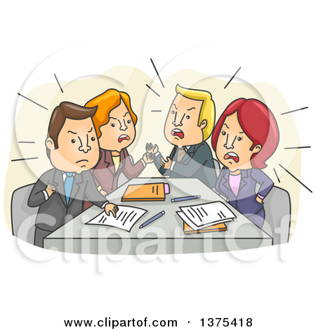 Clipart of a Tense Meeting of White Business Men and Women Arguing.
