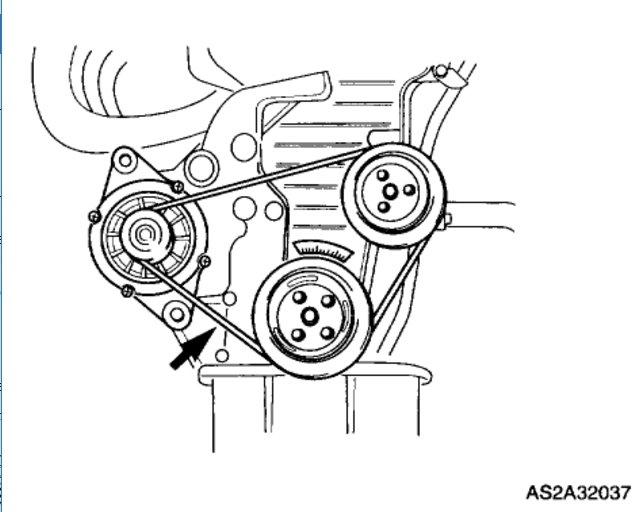 2003 Kia Spectra Replacing Alternator Belt: 2003 Kia Spectra 4 Cyl.
