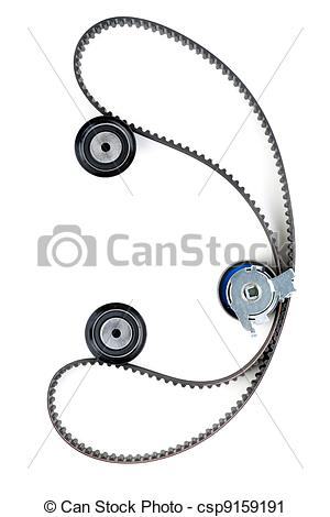 Stock Photography of tension pulley and timing belt background.