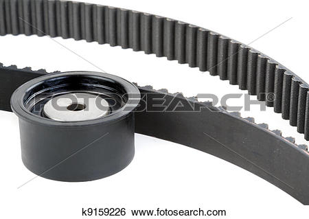 Stock Images of tension pulley and timing belt k9159226.