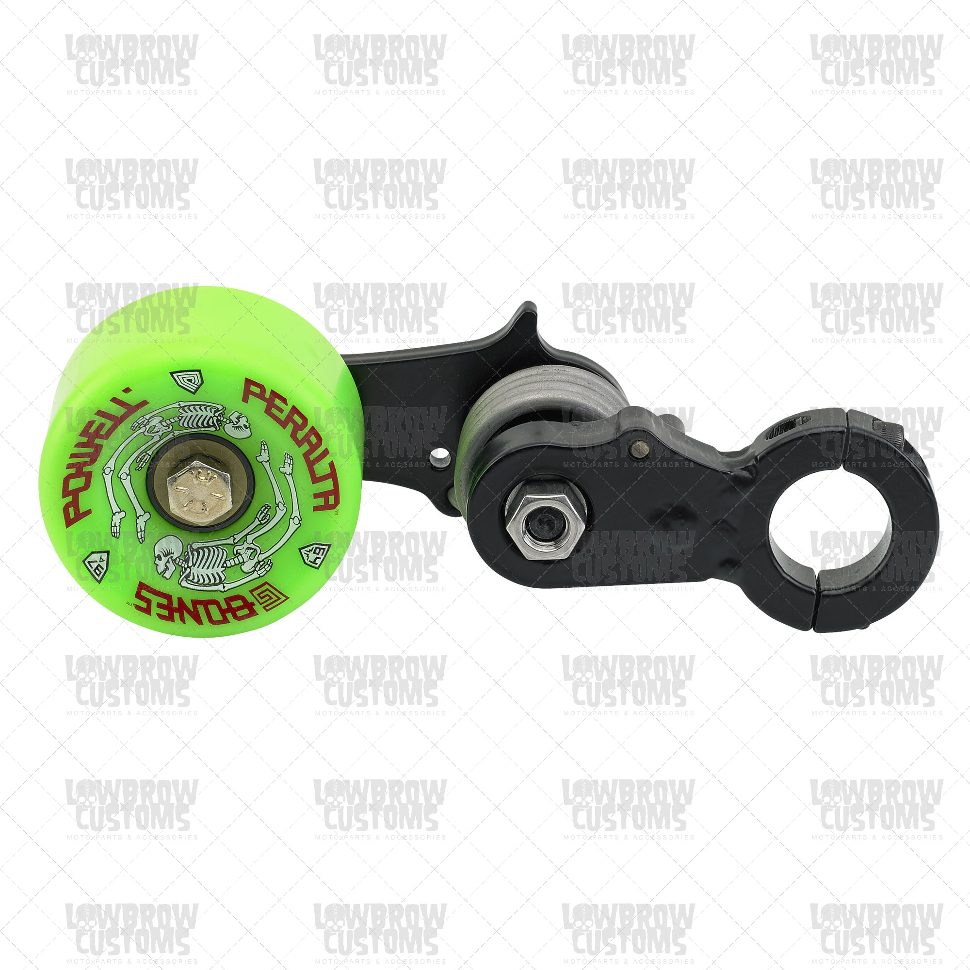 Monster Craftsman Clamp On Green Skateboard Wheel Motorcycle Chain.