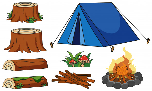 Blue tent and campfire on white background Vector.