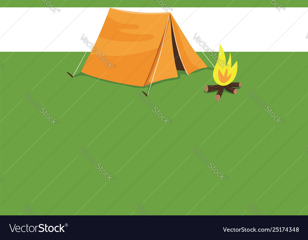 Clipart a summer camp with a tent and campfire.