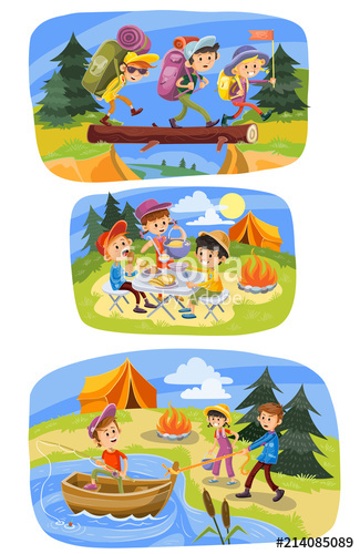 Kids summer camping vector cartoon illustration. Children.