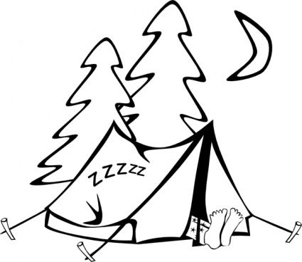 clip art camping outline.