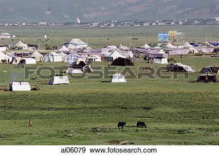Stock Photograph of China, Szechuan (Sichuan), Kham region, Tent.