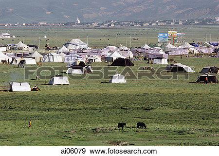 Stock Photograph of China, Szechuan (Sichuan), Kham region, Tent.