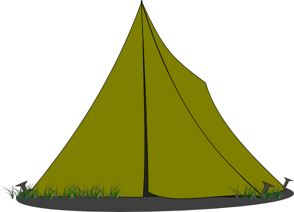 Small Green Camping Tent Clipart transparent PNG.