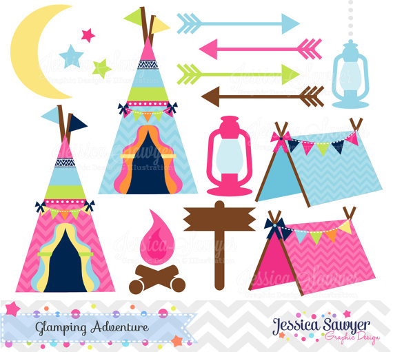 Pink Camping Tent Clipart.