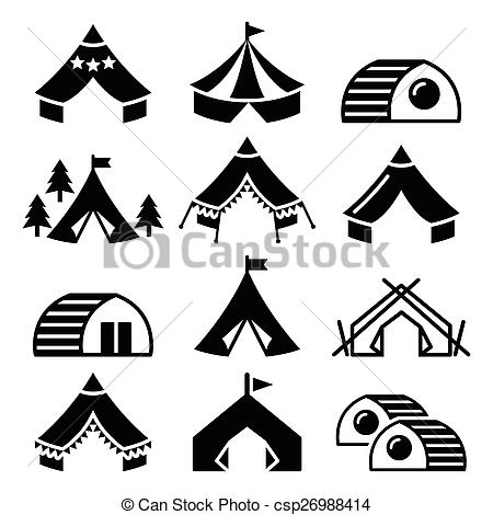 Vector Clip Art of Glamping, luxurious camping tents.