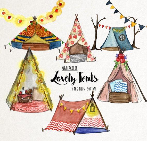 Watercolor tent clipart, watercolor Tents, tent clipart.