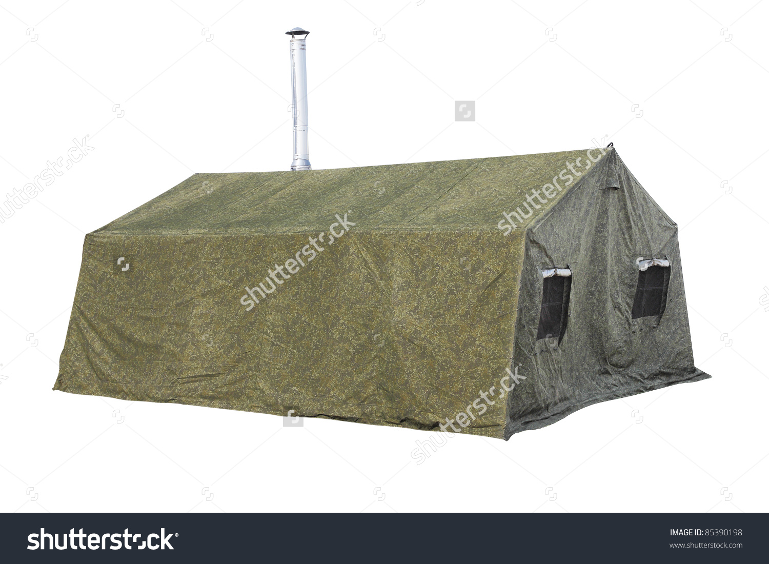 Image Military Tent Under White Background Stock Photo 85390198.