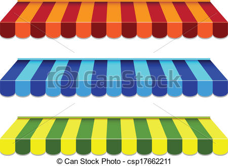 Vector Clip Art of set of striped awnings csp17662211.