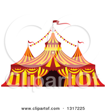 Clipart of a Red and Yellow Big Top Circus Tent.