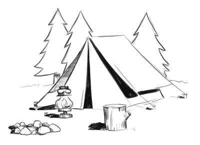 Camping Coloring Pages, Tent, Fire, Trees, Rocks.