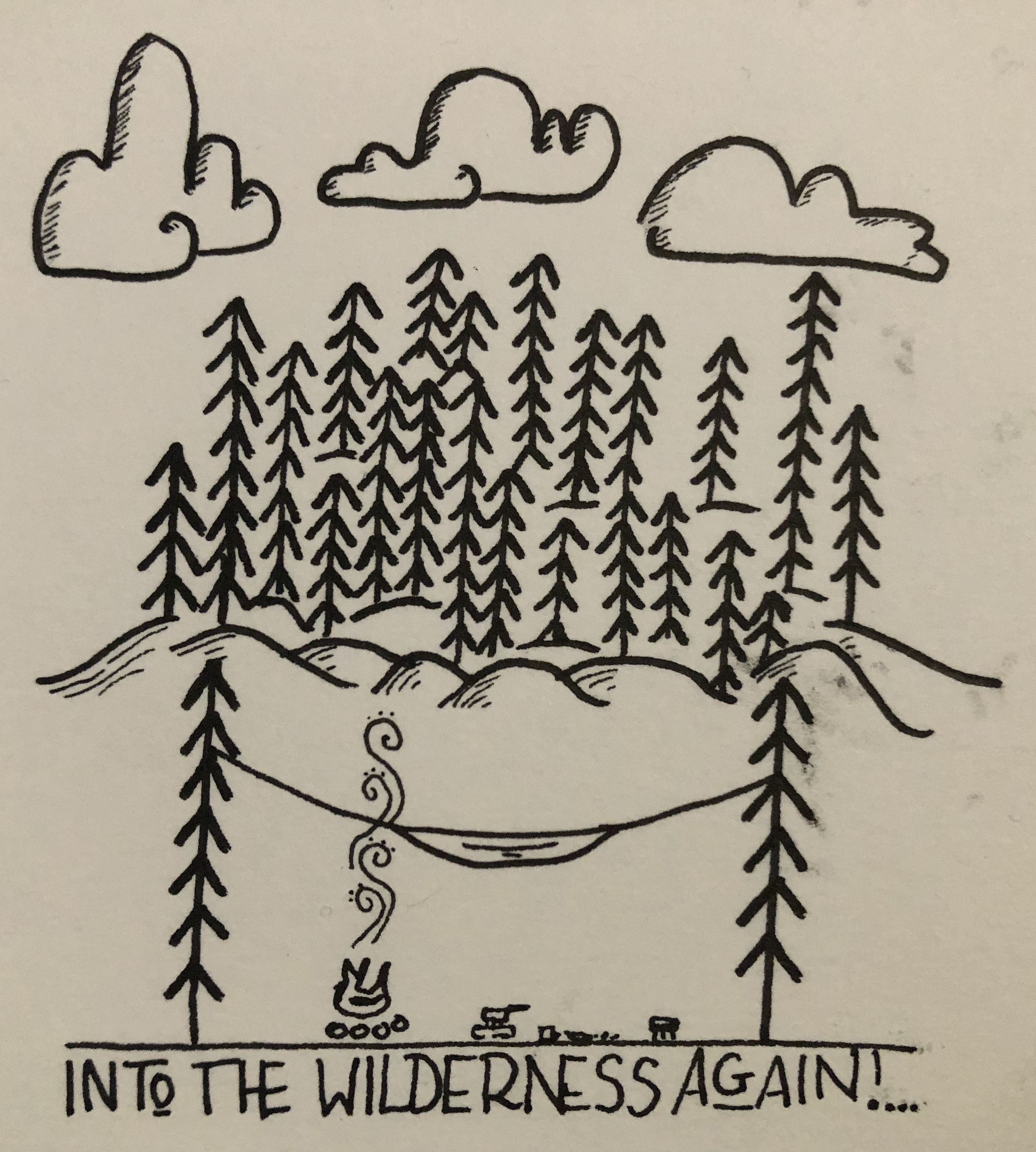 Travel drawing by Imo Lee Tree, tent, fire, bonfire, flames.