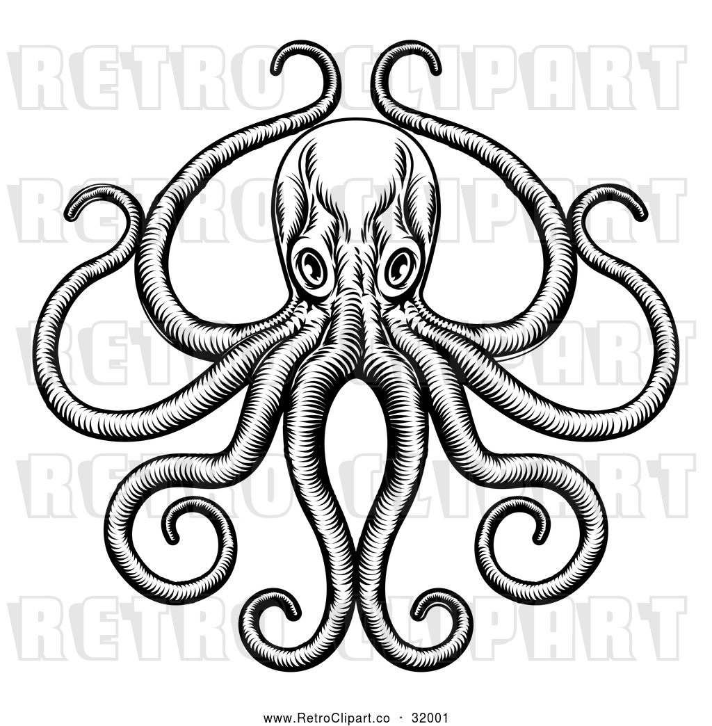 Vector Clip Art of a Retro Octopus and Long Tentacles in.