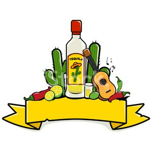 Mexican tequila banner Clipart Image.