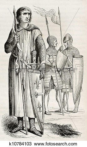 Drawing of Medieval costumes ter k10784103.