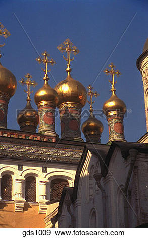 Stock Photograph of Gold domes and detail of the upper cathedral.