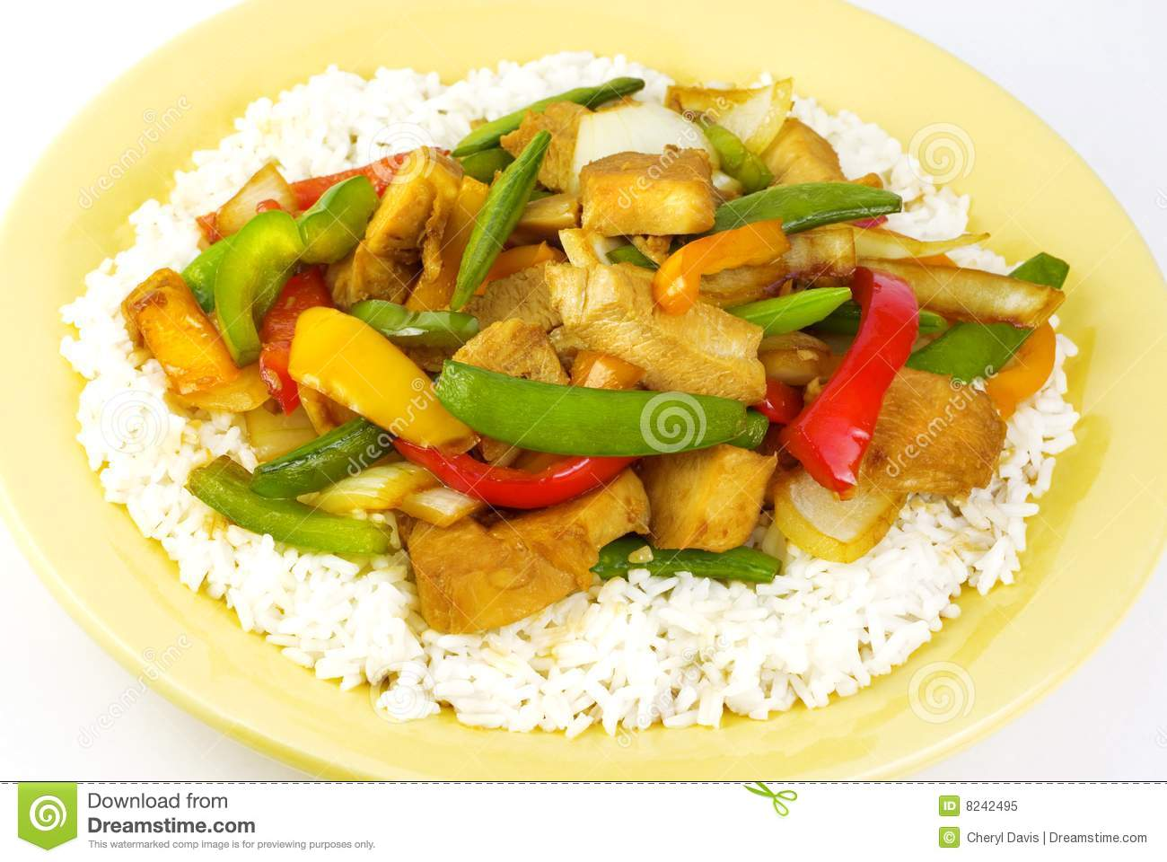 Teriyaki Chicken With Vegetables And Rice Royalty Free Stock Photo.