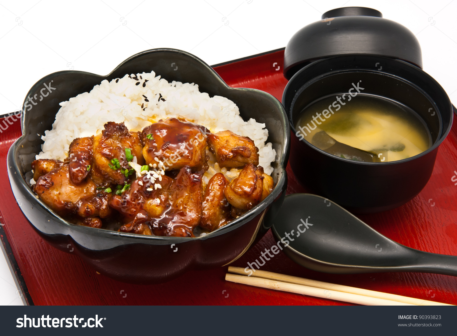 Bento Japanese Food Style Rice Chicken Stock Photo 90393823.