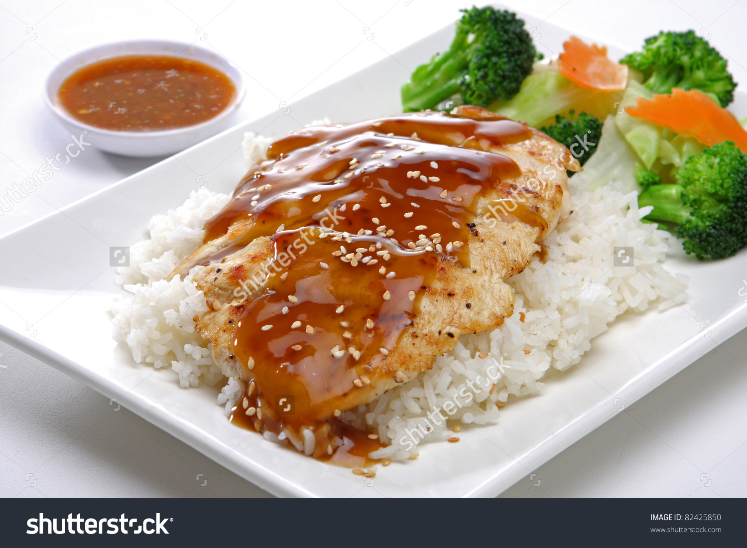 Teriyaki Chicken Steamed Rice Stock Photo 82425850.