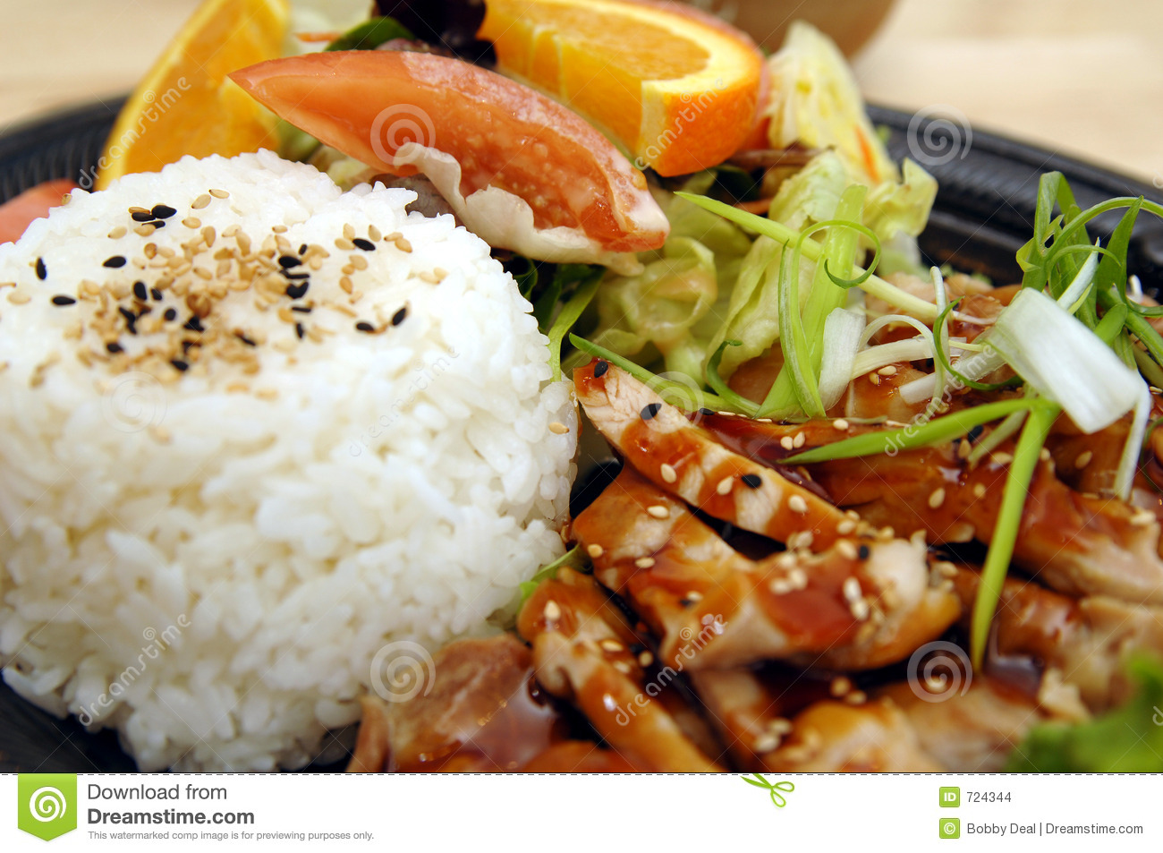 Teriyaki Chicken Plate Stock Images.