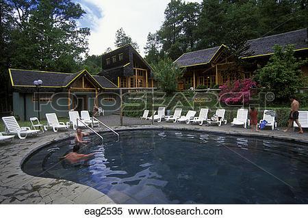 Stock Image of Outdoor pool at the TERMAS SAN LUIS (SAN LUIS HOT.
