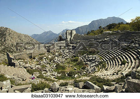 "Picture of ""Ruins of the amphitheatre, antique city of Termessos."