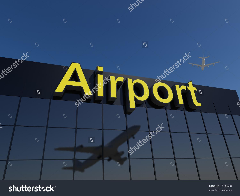 Modern Reflective Glass Airport Terminal Building Stock Photo.