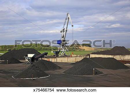 Stock Photo of coal transshipment terminal, harbour of Duisburg.