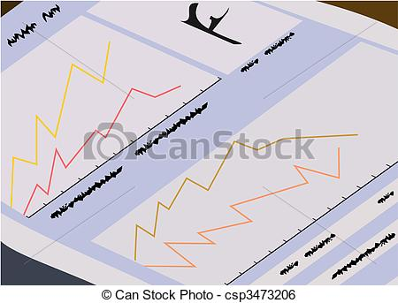 Clip Art Vector of The finances newspaper for traders.