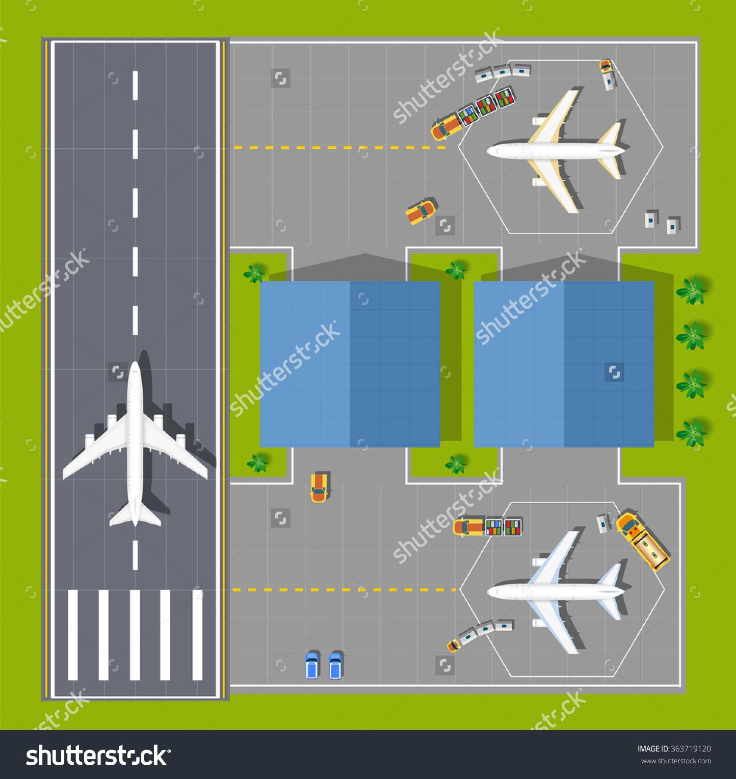 Airport Passenger Terminal Top View Runway Stock Vector 363719120.