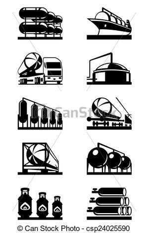 EPS Vectors of Gas tank terminals.
