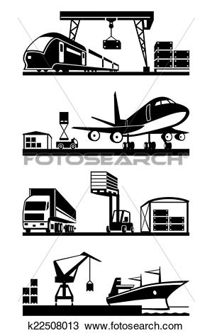 Clipart of Cargo terminals in perspective k22508013.
