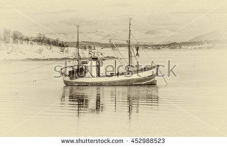 Arctic Landscape Old Ship Stock Photos, Royalty.