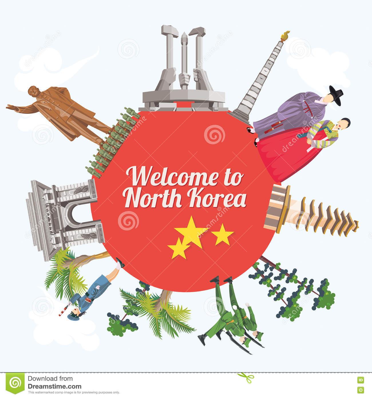 Carta Di Vettore Della Corea Del Nord Con I Punti Di Riferimento.