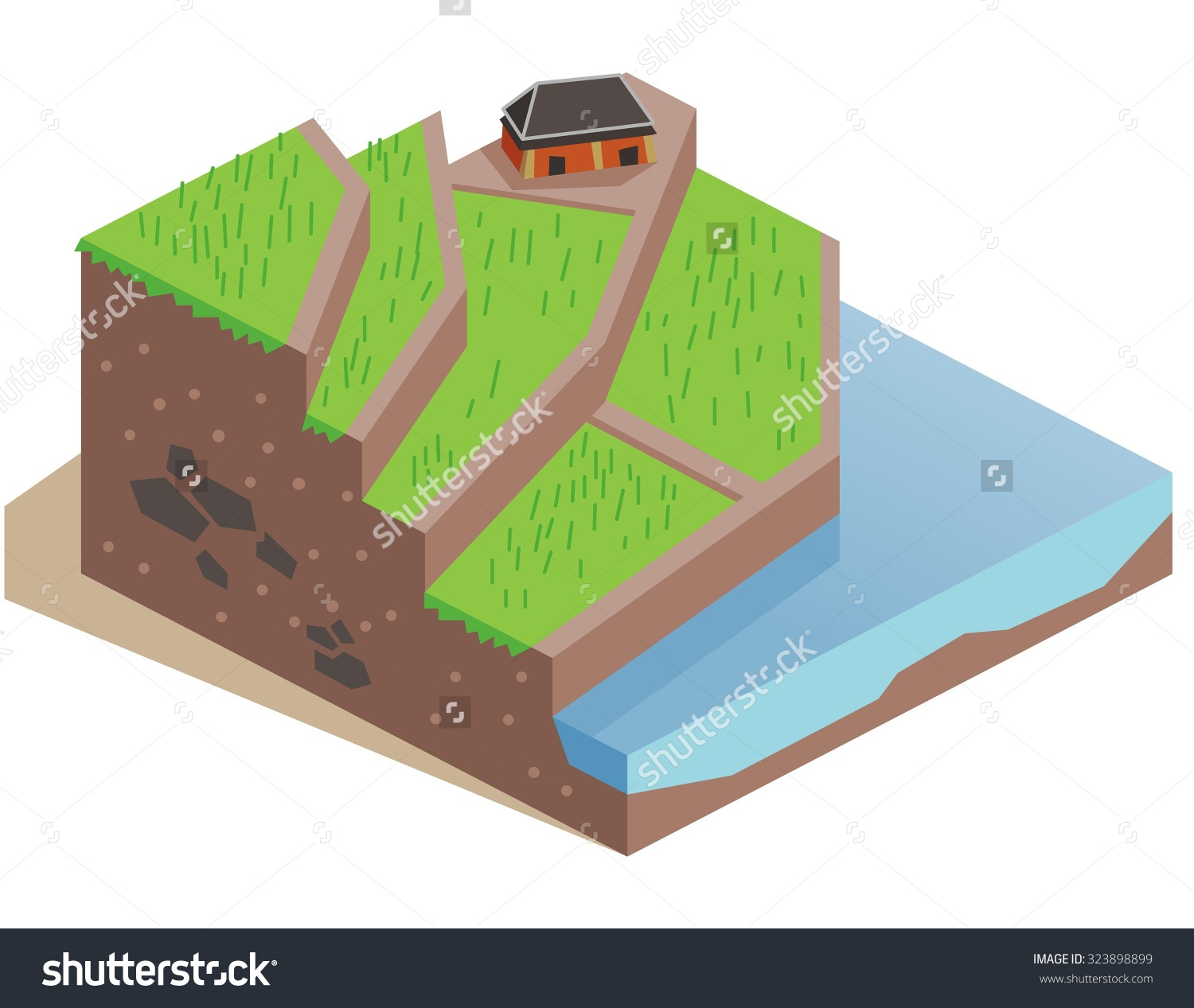Terrace Farming Land Isometric Vector Illustration Stock Vector.