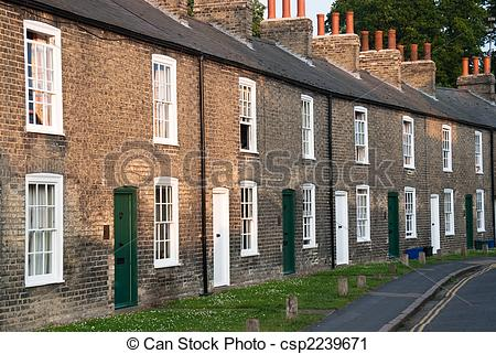 Stock Photography of Terraced houses.
