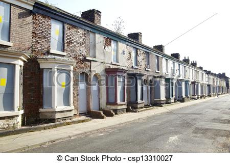Stock Photo of Boarded up terraced houses in Liverpool csp13310027.