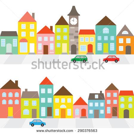 Street of Houses Clip Art.