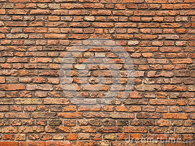 Rough Brick Wall Of Earth And Terracotta Colored Bricks Stock.