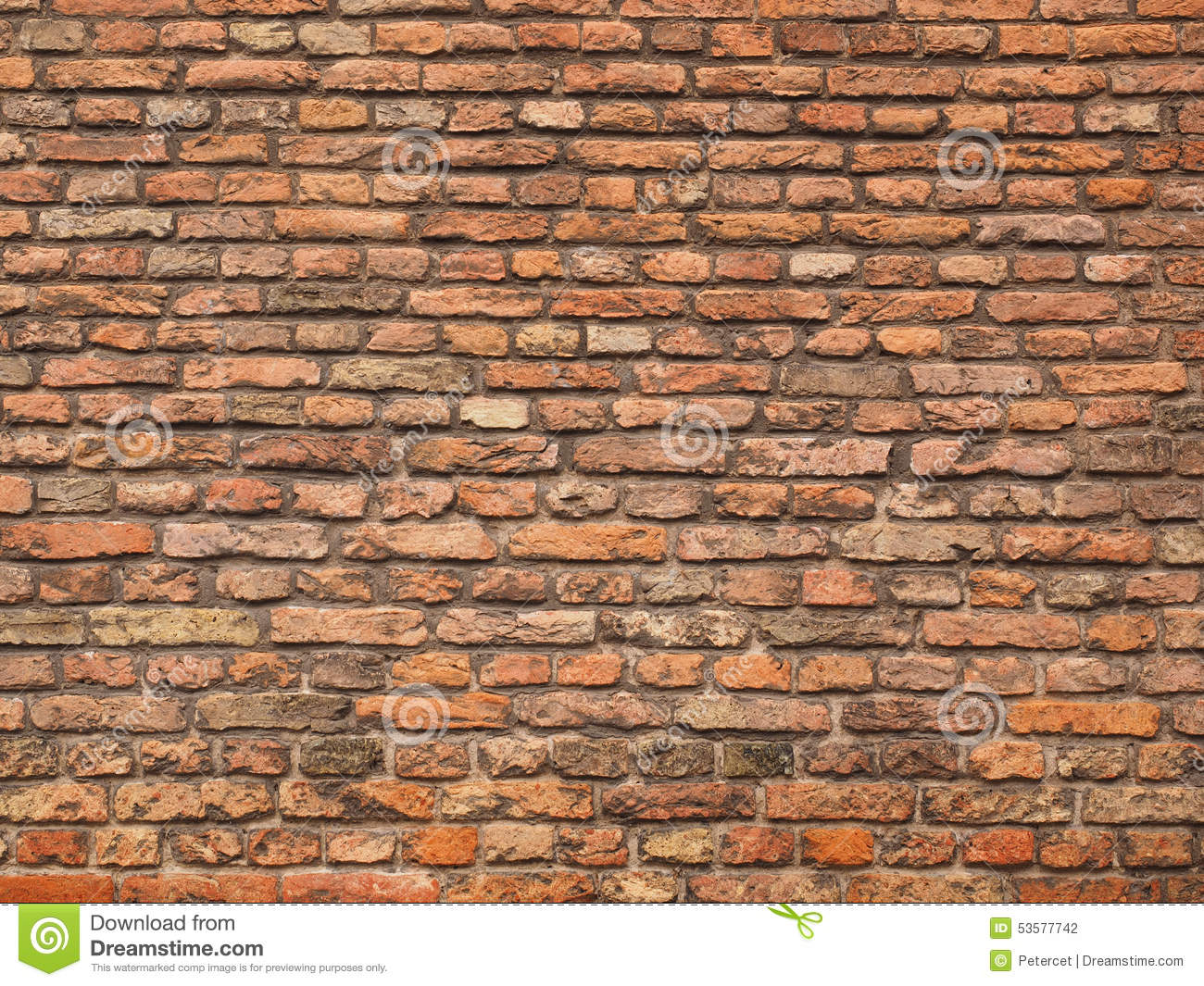 Medieval Rough Brick Wall Of Earth And Terracotta Colored Bricks.