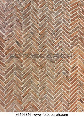 Stock Images of real tuscany terracotta herringbone floor k6596356.