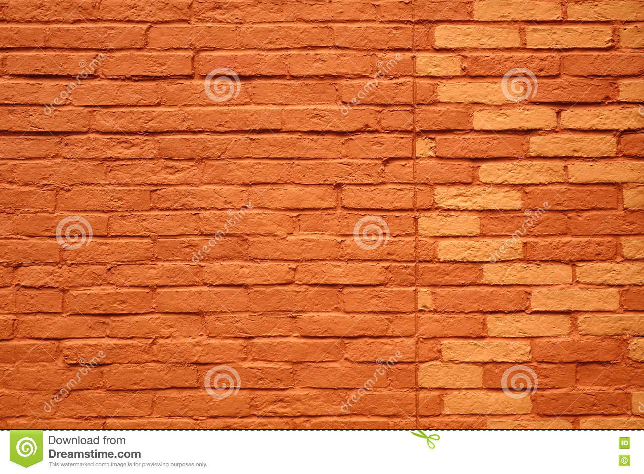 Painted Terracotta Brick Wall Background Or Texture Stock Photo.