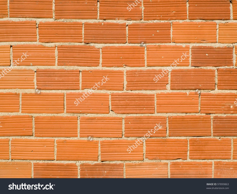 Closeup Terracotta Brick Wall Stock Photo 97899863.