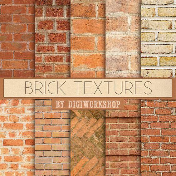 "Brick Digital Paper: ""Brick Textures"" with digital brick textures."
